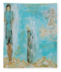 Angels Appear On Golden Clouds Fleece Blanket