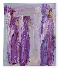Angels In Purple Fleece Blanket