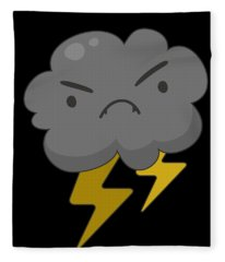 Angry Cloud With Lightning Thunderstorm Fleece Blanket