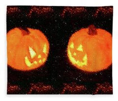 Angry Pumpkins Banner Fleece Blanket