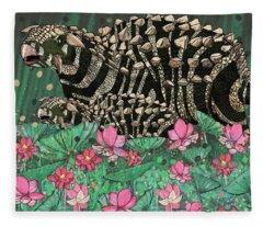 Ankylosaurus In Lilies Fleece Blanket