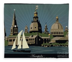 Annapolis Steeples And Cupolas Serenity With Border Fleece Blanket