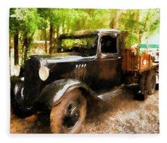 Antique Black Truck Fleece Blanket