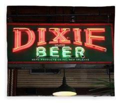 Antique Dixie Beer Neon Sign Fleece Blanket