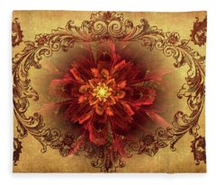 Antique Foral Filigree In Crimson And Gold Fleece Blanket