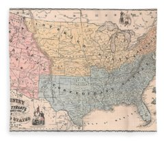 Antique Propaganda Map Of United States - Old Cartographic Map - Antique Maps Fleece Blanket