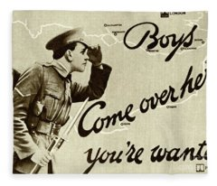 Antique Recruitment Poster For The British Army In The First World War, 1915 Fleece Blanket