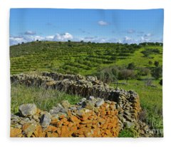 Antique Stone Wall Of An Old Farm Fleece Blanket
