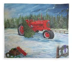 Antique Tractor At The Christmas Tree Farm Fleece Blanket