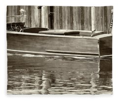 Antique Wooden Boat By Dock Sepia Tone 1302tn Fleece Blanket
