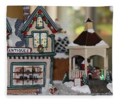 Antiques In Christmas Town Fleece Blanket