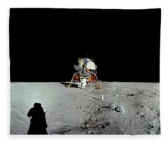 Apollo 11 Panorama Of The First Men Fleece Blanket