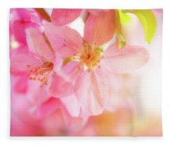 Apple Blossoms Bright Glow Fleece Blanket