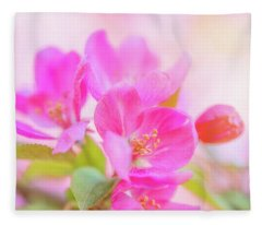 Apple Blossoms Colorful Glow Fleece Blanket