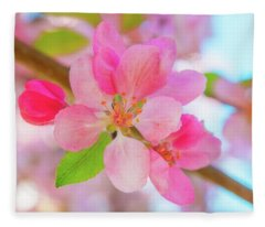 Apple Blossoms Red And Blue Fleece Blanket