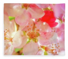 Apple Blossoms Textures Fleece Blanket