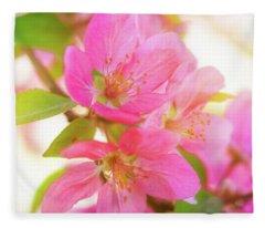 Apple Blossoms Warm Glow Fleece Blanket