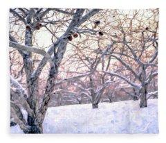 Apples In Winter Fleece Blanket