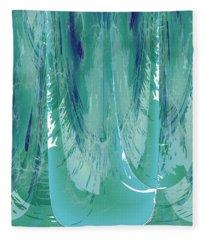 Aqua Abstract Flow Fleece Blanket