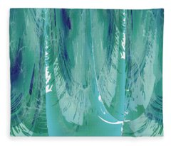 Aqua Abstract Flow Fleece Blanket