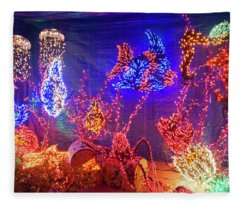 Aquarium Fish Christmas Holiday Lights At Night Fleece Blanket