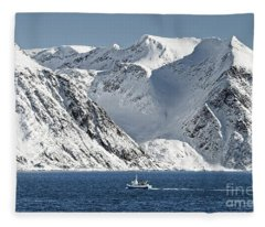 Arctic Landscape And Mountains Fleece Blanket