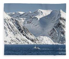 Arctic Landscape And Mountains Fleece Blanket