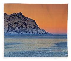 Arctic Sunset In Norway Fleece Blanket