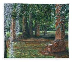 Ardoyne Ruins Near The Mansion, Houma, Louisiana Fleece Blanket