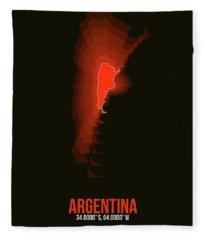 Argentina Radiant Map 3 Fleece Blanket