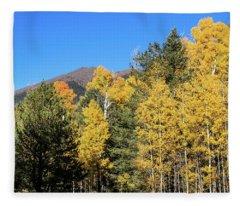 Arizona Aspens With Mountains Fleece Blanket