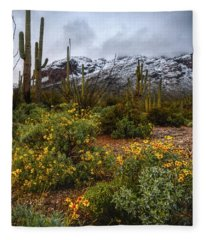 Arizona Flowers And Snow Fleece Blanket