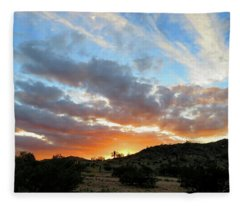Fleece Blanket featuring the photograph Arizona Sonoran Desert Sunset by Judy Kennedy