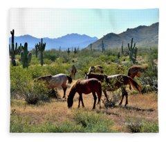 Arizona Wild Horses Fleece Blanket