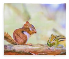 Art Composite Photograph Of A Chipmunk And Red Squirrel Sharing  Fleece Blanket
