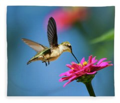 Art Of Hummingbird Flight Fleece Blanket