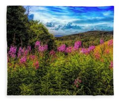 Art Photo Of Vermont Rolling Hills With Pink Flowers In The Fore Fleece Blanket