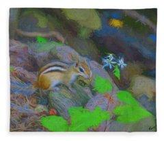 Art Photograph Of Eastern Chipmunk. Fleece Blanket