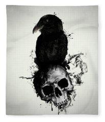 Raven And Skull Fleece Blanket