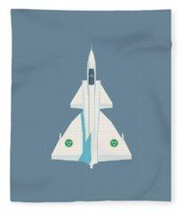 J37 Viggen Swedish Air Force Fighter Jet Aircraft - Slate Fleece Blanket