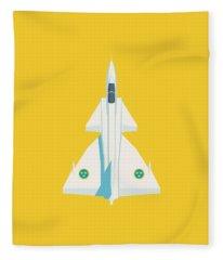 J37 Viggen Swedish Air Force Fighter Jet Aircraft - Yellow Fleece Blanket