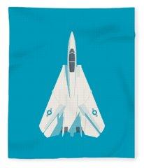 F14 Tomcat Fighter Jet Aircraft - Cyan Fleece Blanket