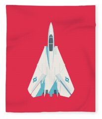 F14 Tomcat Fighter Jet Aircraft - Crimson Fleece Blanket