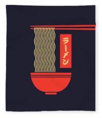 Ramen Japanese Food Noodle Bowl Chopsticks - Black Fleece Blanket