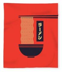 Ramen Japanese Food Noodle Bowl Chopsticks - Red Fleece Blanket