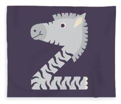 Letter Z - Animal Alphabet - Zebra Monogram Fleece Blanket
