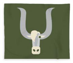 Letter Y - Animal Alphabet - Yak Monogram Fleece Blanket