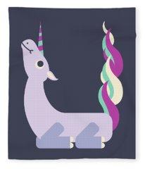 Letter U - Animal Alphabet - Unicorn Monogram Fleece Blanket