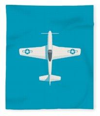 P51 Mustang Fighter Aircraft - Cyan Fleece Blanket