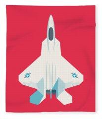 F22 Raptor Jet Fighter Aircraft - Crimson Fleece Blanket